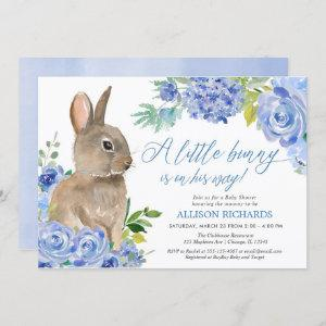 Easter bunny blue white floral boy baby shower invitation