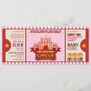 Editable Colour Circus Ticket Couple Shower Invitation