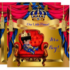 Elegant Baby Shower Boy Prince Royal Blue Red Gold Invitation