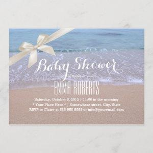 Elegant Beach Baby Shower with Ivory Ribbon Invitation