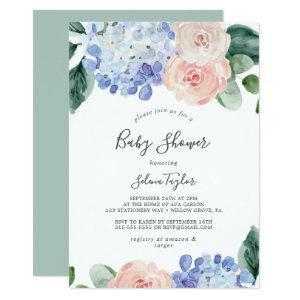 Elegant Blue Hydrangea | White Baby Shower Invitation