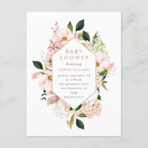 Elegant Blush & Gold Floral Baby Shower Invitation Postcard