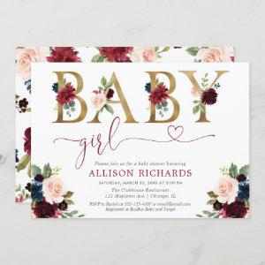 Elegant blush pink burgundy floral girl baby invitation