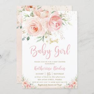 Elegant Blush Pink Floral Gold Girl Baby Shower Invitation