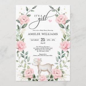 Elegant Blush Pink Flower Lamb Girl Baby Shower Invitation