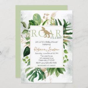 Elegant Dinosaur Boy Baby Shower Invitation
