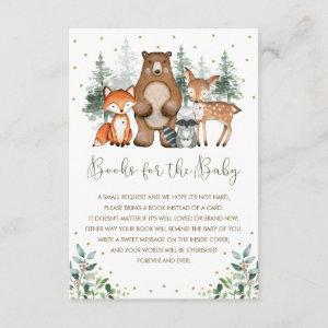 Elegant Forest Woodland Animals Books for Baby Enclosure Card