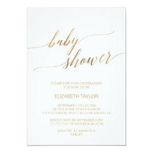 Elegant Gold Calligraphy Baby Shower Invitation