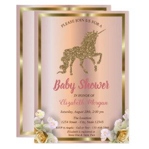 Elegant Gold Glitter Unicorn Floral Baby Shower Invitation