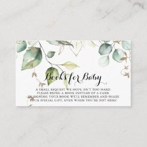 Elegant Gold Greenery Baby Shower Book Request Enclosure Card