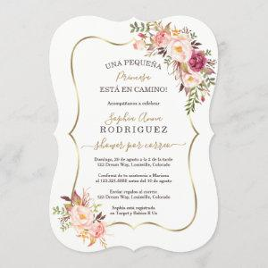 Elegant Gold Pink Floral Baby Shower Por Correo Invitation