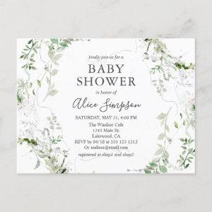 Elegant Greenery Baby Shower Invitation Postcard