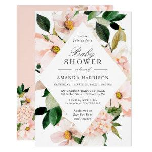 Elegant Hydrangea Blush Pink Floral Baby Shower Invitation