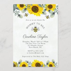 Elegant Mommy to BEE Sunflowers Floral Baby Shower Invitation
