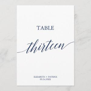 Elegant Navy Calligraphy Table 13 Table Number
