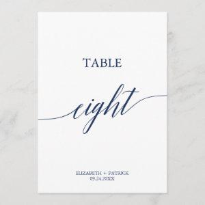 Elegant Navy Calligraphy Table Eight Table Number