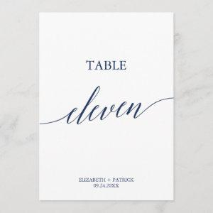 Elegant Navy Calligraphy Table Eleven Table Number