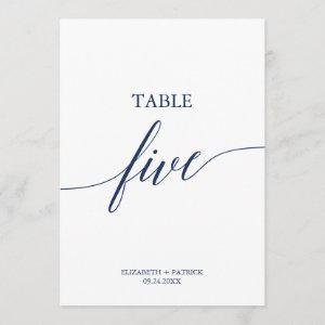 Elegant Navy Calligraphy Table Five Table Number
