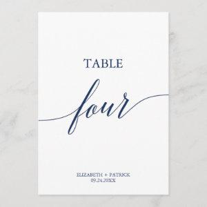 Elegant Navy Calligraphy Table Four Table Number