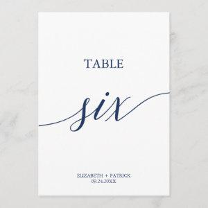 Elegant Navy Calligraphy Table Six Table Number