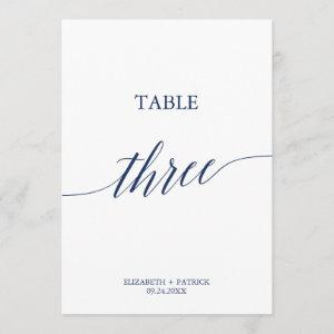 Elegant Navy Calligraphy Table Three Table Number