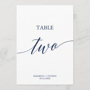 Elegant Navy Calligraphy Table Two Table Number