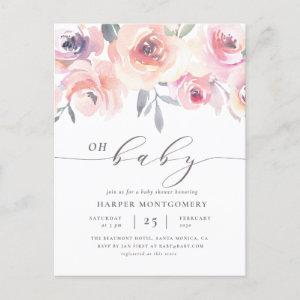 Elegant Oh Baby Lettering Floral Baby Girl Shower Invitation Postcard