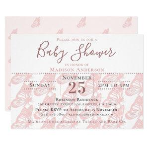 Elegant Pastel Pink Butterfly Girl Baby Shower Invitation