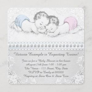 Elegant Pink and Blue Twin Baby Shower Invitation