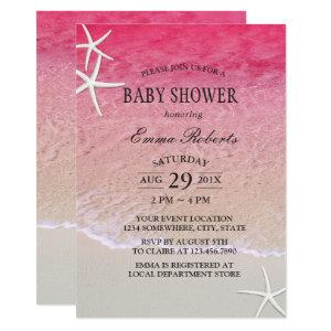 Elegant Pink Beach Starfish Baby Shower Invitation