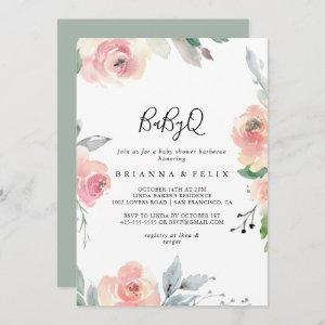 Elegant Pink Blush BabyQ Baby Shower Barbecue Invitation