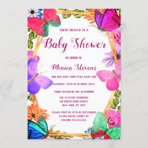 Elegant Pink Purple Floral Butterfly Baby Shower Invitation