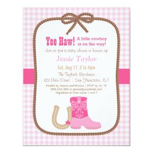Elegant Pink Western Theme Baby Shower Invitations