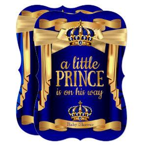 Elegant Royal Blue Prince Baby Shower Gold Crowns Invitation