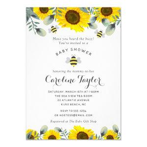 Elegant Sweet as Can Bee Sunflowers Baby Shower Invitation