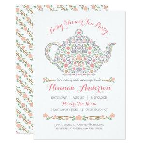 Elegant Tea Party Girl Baby Shower • Teapot Invitation