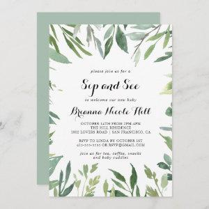 Elegant Tropical Green Calligraphy Sip and See