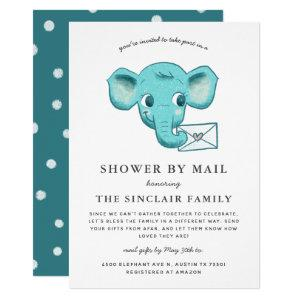 Elephant Baby Boy Shower By Mail Invitation