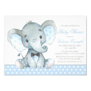 Elephant Baby Boy Shower Invitations