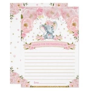 Elephant Baby Shower Advice for Parents to Be Card