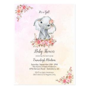 Elephant Baby Shower Boho Chic Coral Watercolor Postcard