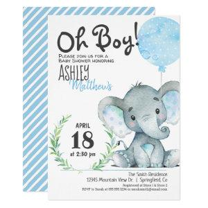 Elephant Baby Shower Boy Invitation