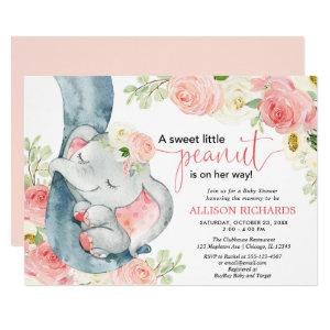 Elephant baby shower girl floral pink cream invitation