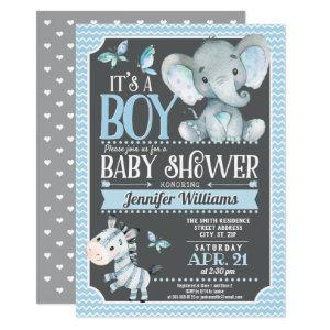 Elephant Baby Shower Invitation, Blue and Gray Invitation