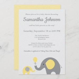 Elephant Baby Shower Invitation in Yellow and Gray