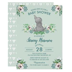 Elephant Baby Shower Invitation Mint Green Floral
