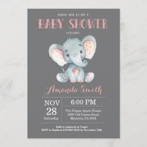 Elephant Baby Shower Invitation Pink and Gray