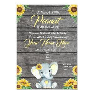 Elephant Baby Shower Invitation, rustic, Yellow Invitation