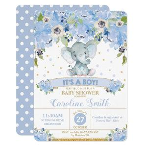 Elephant Blue Floral Baby Shower Baby Boy Invitation