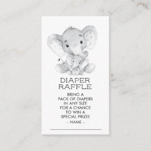 Elephant Boys Baby Shower Diaper Raffle Ticket Enclosure Card